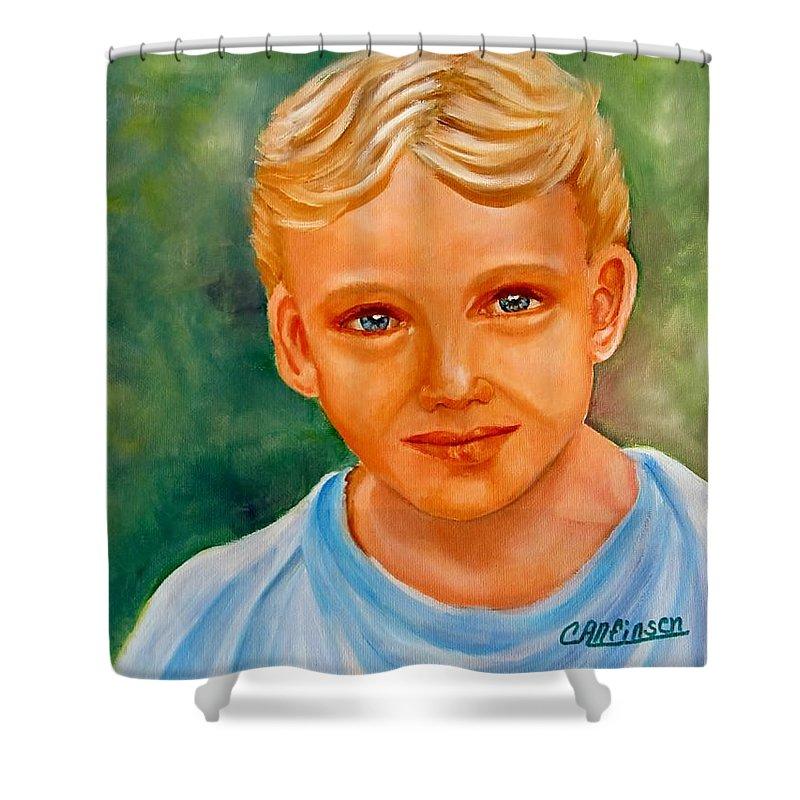 Boy Shower Curtain featuring the painting Blonde Boy by Carol Allen Anfinsen