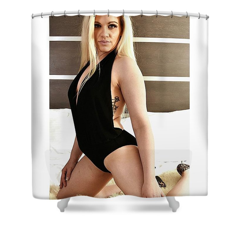 Blonde In Black Lingerie Shower Curtain featuring the photograph Blonde Ready by Tom Hufford