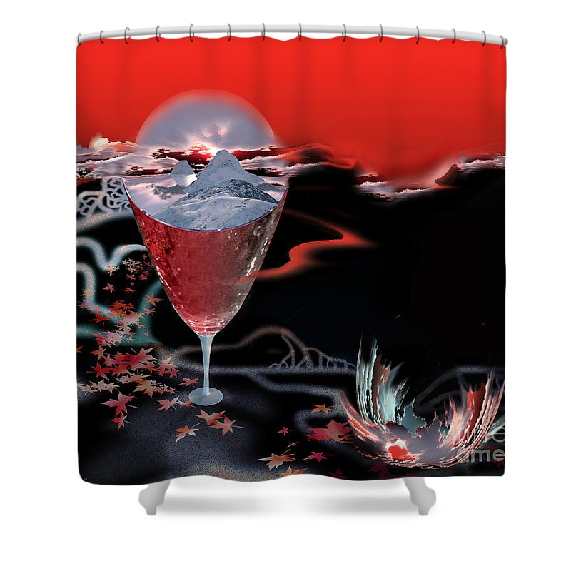 Blood Shower Curtain featuring the digital art Blood Red From Pure White by Jennifer Kathleen Phillips