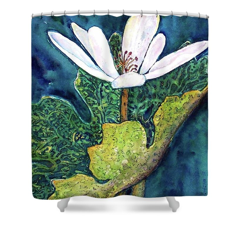 White Flower Shower Curtain featuring the painting Blood Root by Norma Boeckler