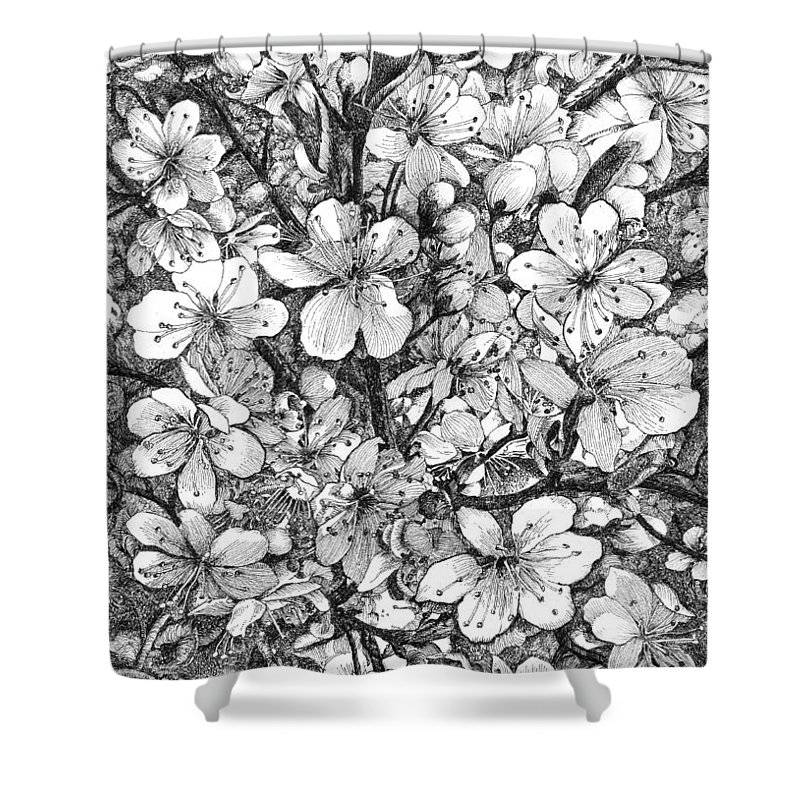Ink Drawing Shower Curtain featuring the drawing Blooming Apple Tree by Alexander Potekhin