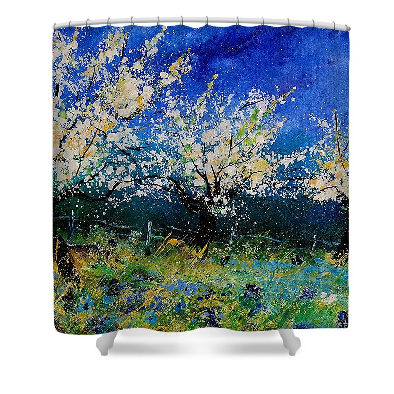 Landscape Shower Curtain featuring the painting Blooming Appletrees 56 by Pol Ledent