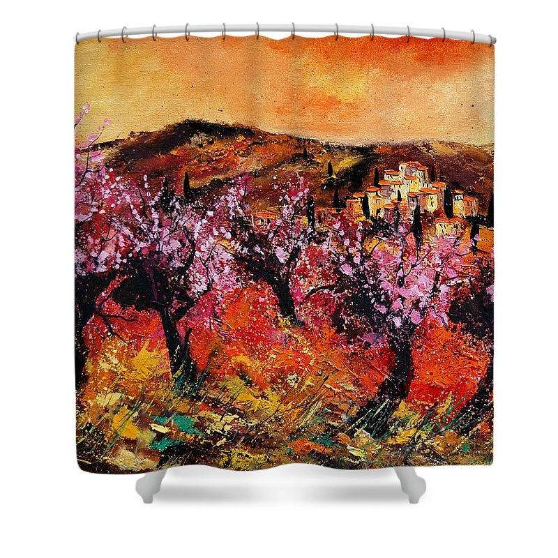 Provence Cherrytree Summer Spring Shower Curtain featuring the painting Blooming Cherry Trees by Pol Ledent