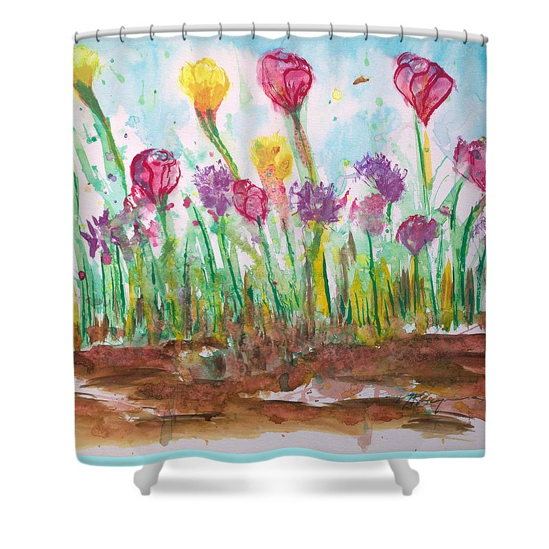 Flowers Shower Curtain featuring the painting Blooming Colors by J R Seymour