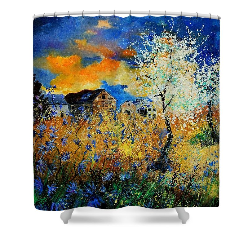Poppies Shower Curtain featuring the painting Blooming Trees by Pol Ledent