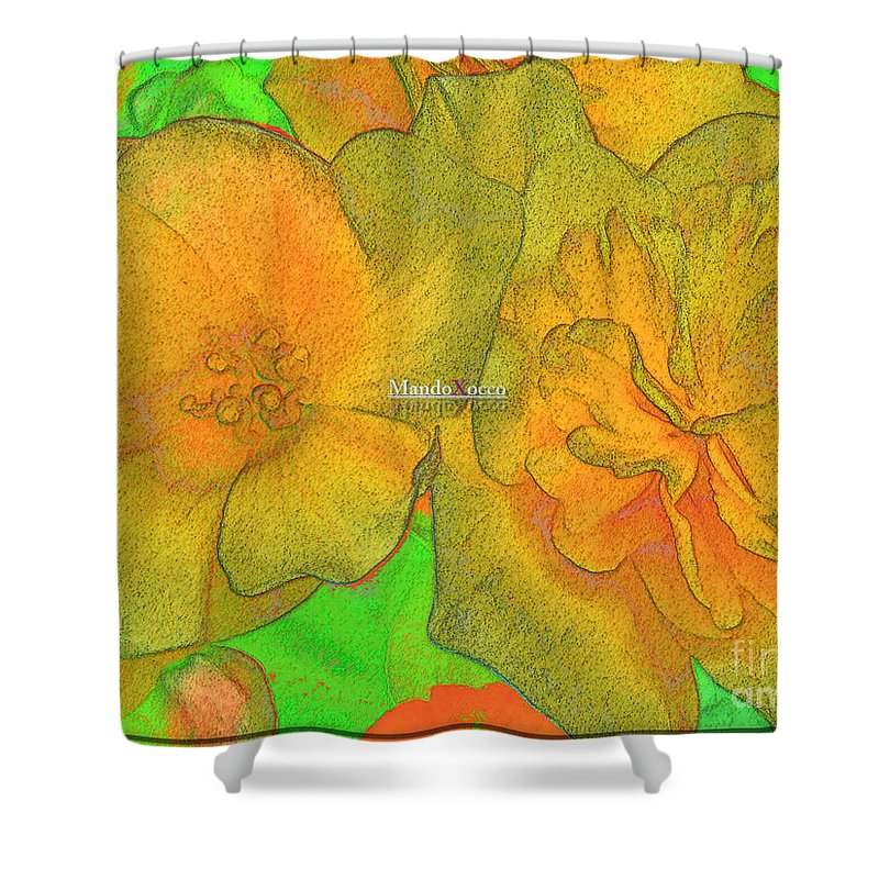 Design Shower Curtain featuring the digital art Blooms Yellow by Mando Xocco