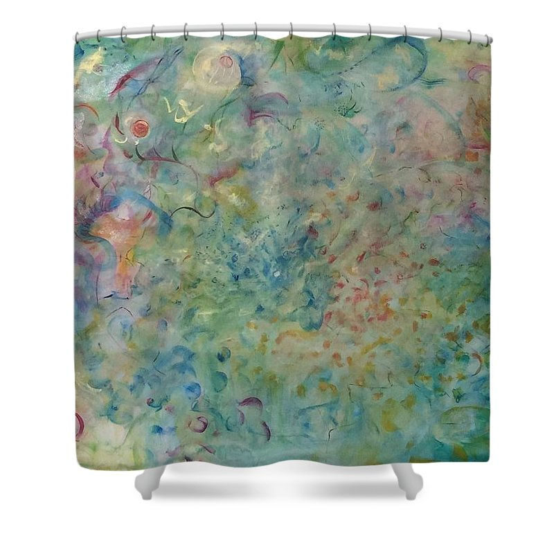 Abstract Shower Curtain featuring the painting Blossoming by Holly Sedgwick