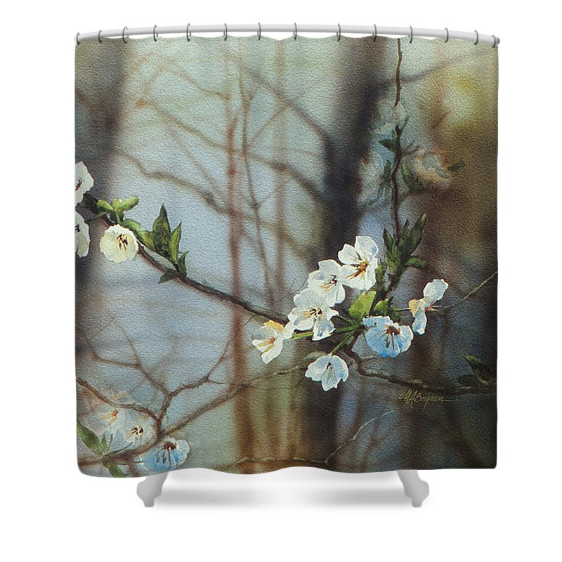 Floral Painting Shower Curtain featuring the painting Blossoms In The Wild by Maryann Boysen