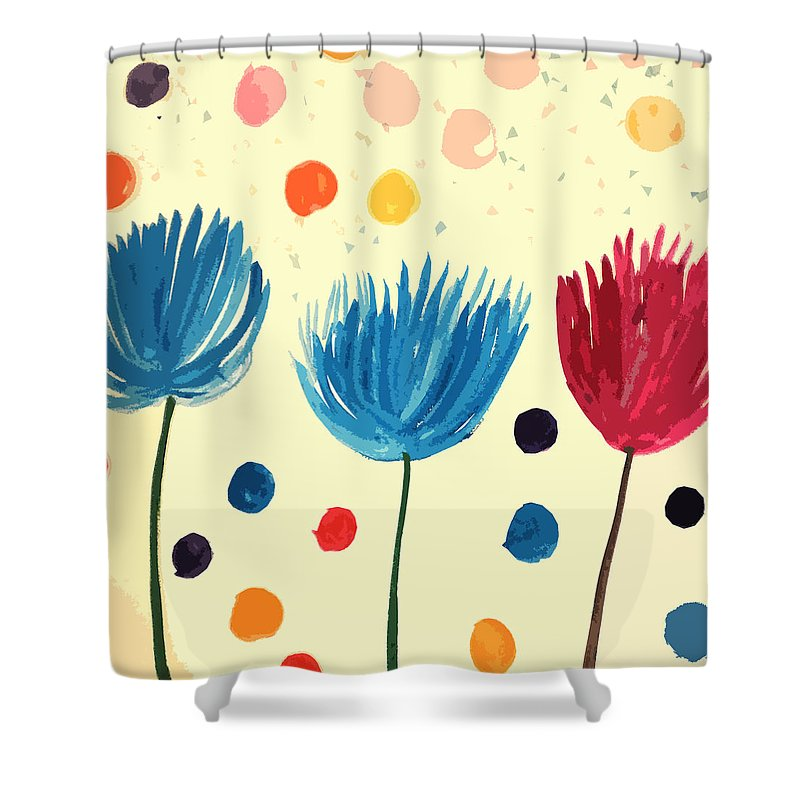 Magic Flowers Shower Curtain featuring the painting Blossoms by Liz B Taylor