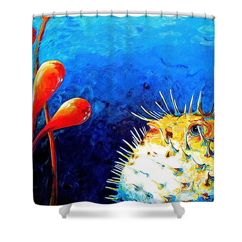Blow Fish Shower Curtain featuring the painting Blow Fish by Gregory Merlin Brown