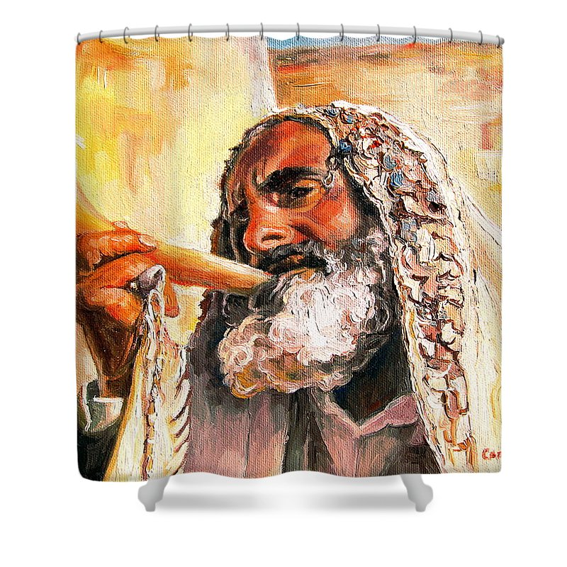 Rabbis Shower Curtain featuring the painting Blow The Trumpet In Zion by Carole Spandau