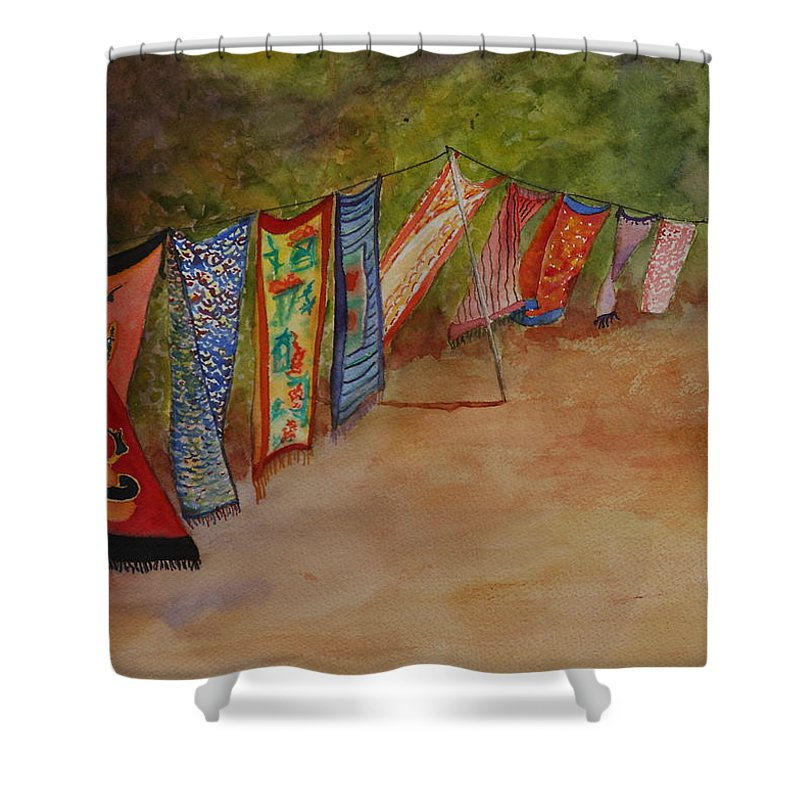 Sari Shower Curtain featuring the painting Blowin' In The Wind by Ruth Kamenev