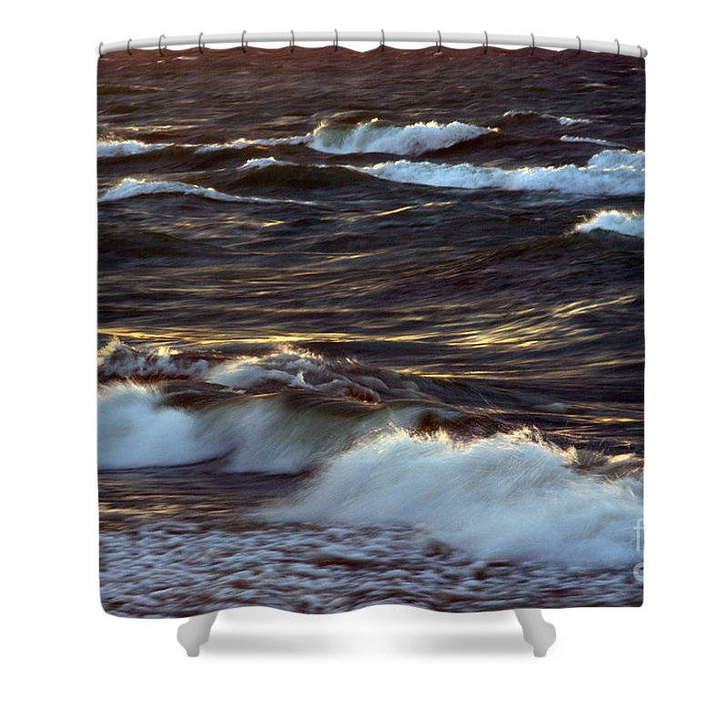 Grand Bend Shower Curtain featuring the photograph Blowing In The Wind 2 by John Scatcherd