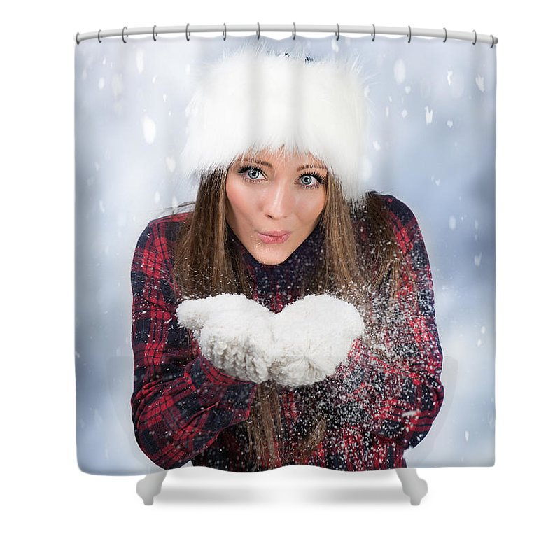 Young Shower Curtain featuring the photograph Blowing Snow In Winter by Amanda Elwell
