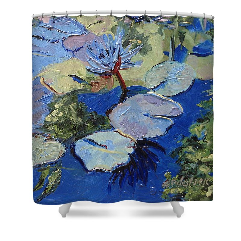 Lilies Shower Curtain featuring the painting Blu I by Barbara Andolsek