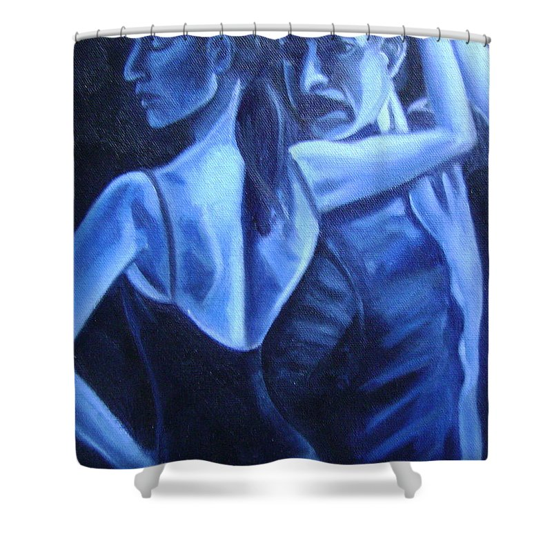 Shower Curtain featuring the painting Bludance by Toni Berry