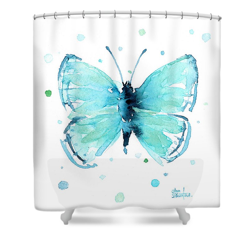 Watercolor Shower Curtain Featuring The Painting Blue Abstract Butterfly By Olga Shvartsur