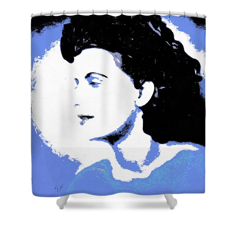 Abstract Shower Curtain featuring the digital art Blue - Abstract Woman by Caterina Christakos