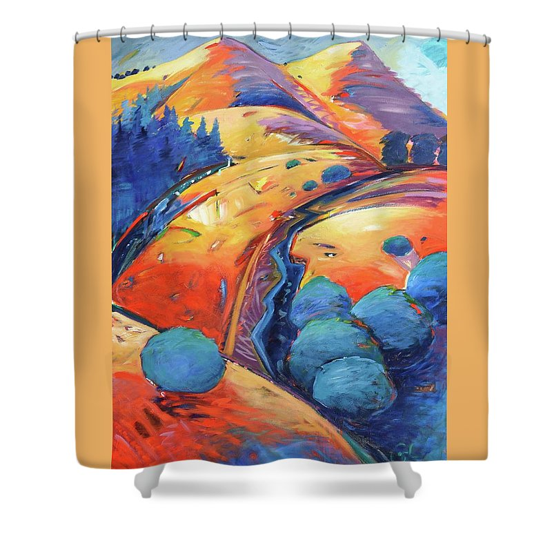Hills Shower Curtain featuring the painting Blue And Gold by Gary Coleman