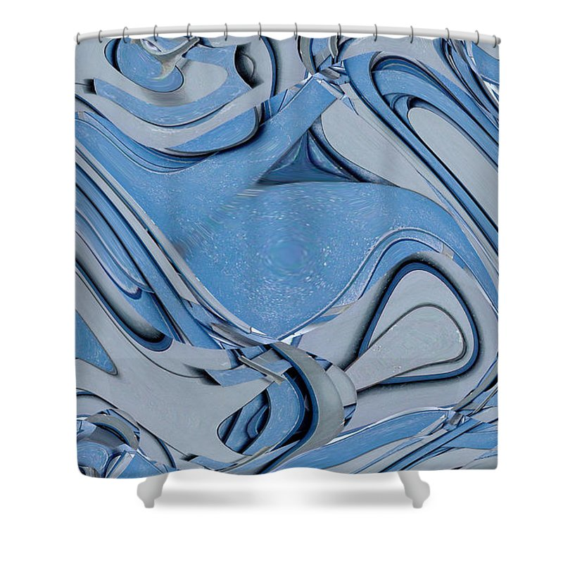 Digital Art Shower Curtain featuring the digital art Blue And Gray by Ron Bissett
