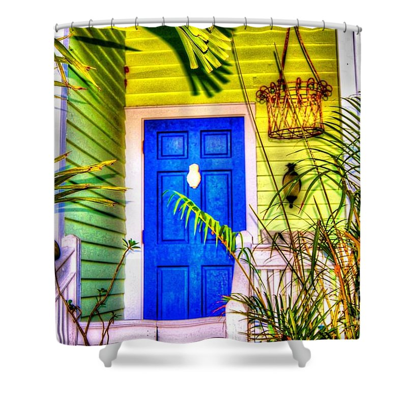 Door Shower Curtain featuring the photograph Blue And Green by Debbi Granruth
