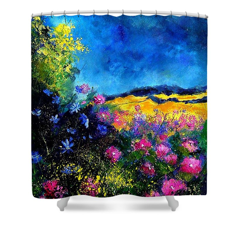 Landscape Shower Curtain featuring the painting Blue And Pink Flowers by Pol Ledent
