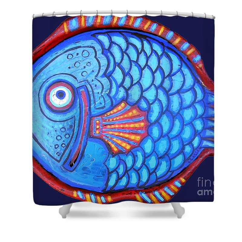 Fish Shower Curtain featuring the painting Blue And Red Fish by Genevieve Esson