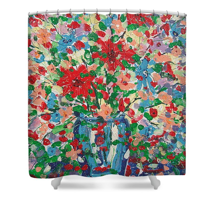 Painting Shower Curtain featuring the painting Blue And Red Flowers. by Leonard Holland