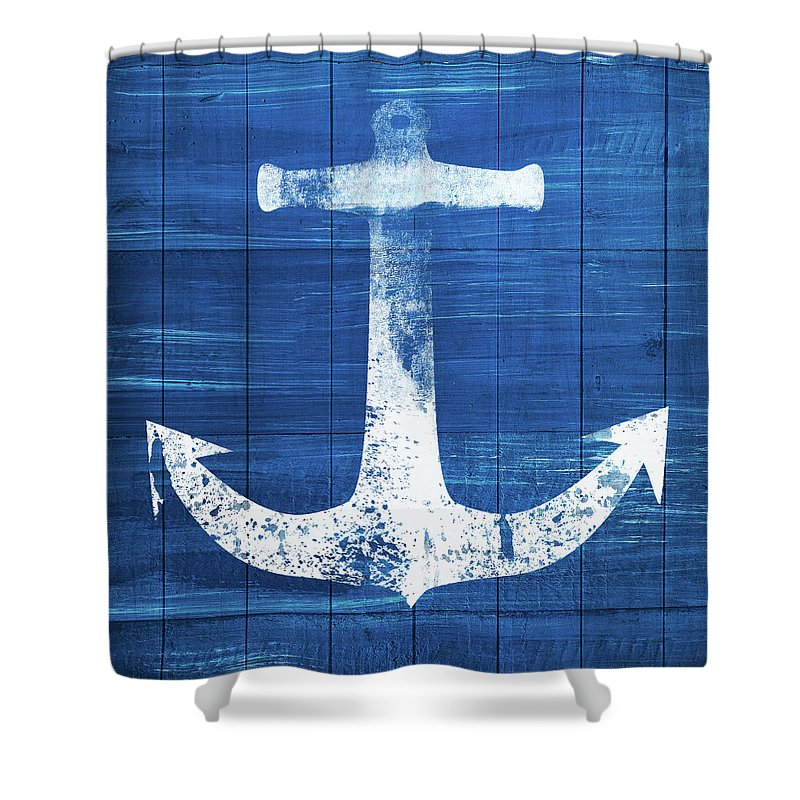 Anchor Shower Curtain featuring the mixed media Blue and White Anchor- Art by Linda Woods by Linda Woods