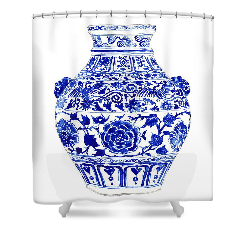 Blue And White China Shower Curtain featuring the painting Blue And White Ginger Jar Chinoiserie 4 by Laura Row