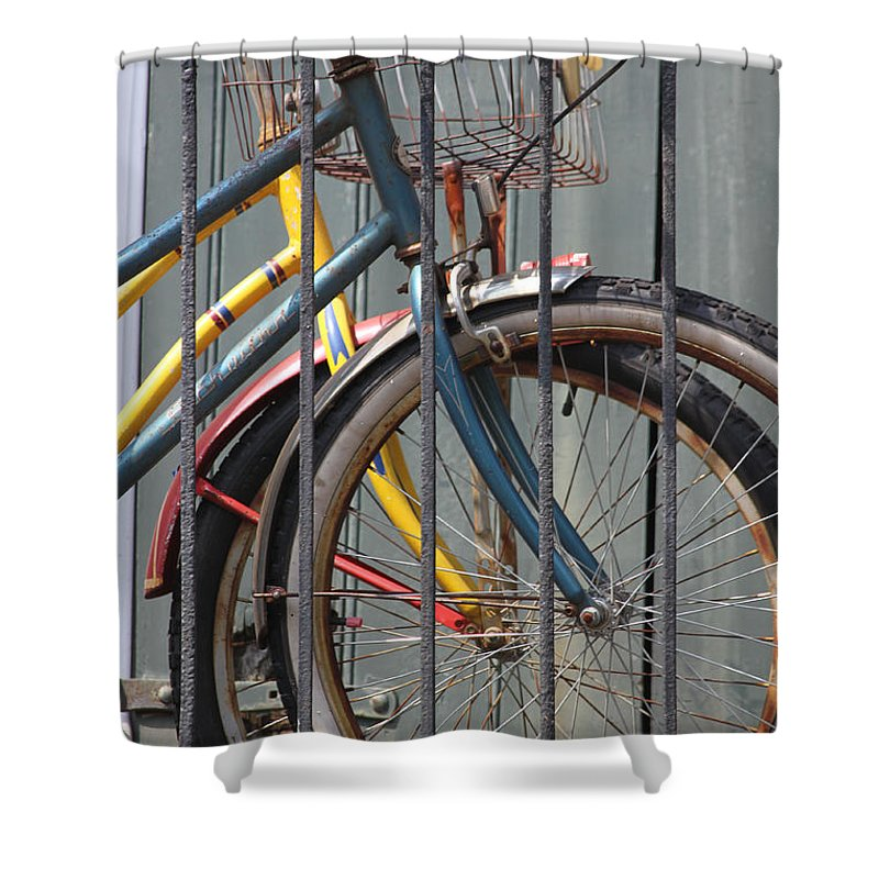 Bike Shower Curtain featuring the photograph Blue And Yellow Bikes by Lauri Novak