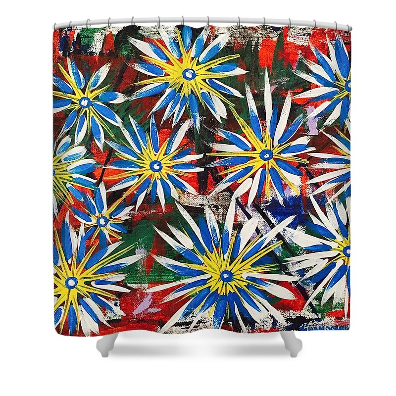 Abstrat Paiting Shower Curtain featuring the painting Blue And Yellow by Gina Nicolae Johnson