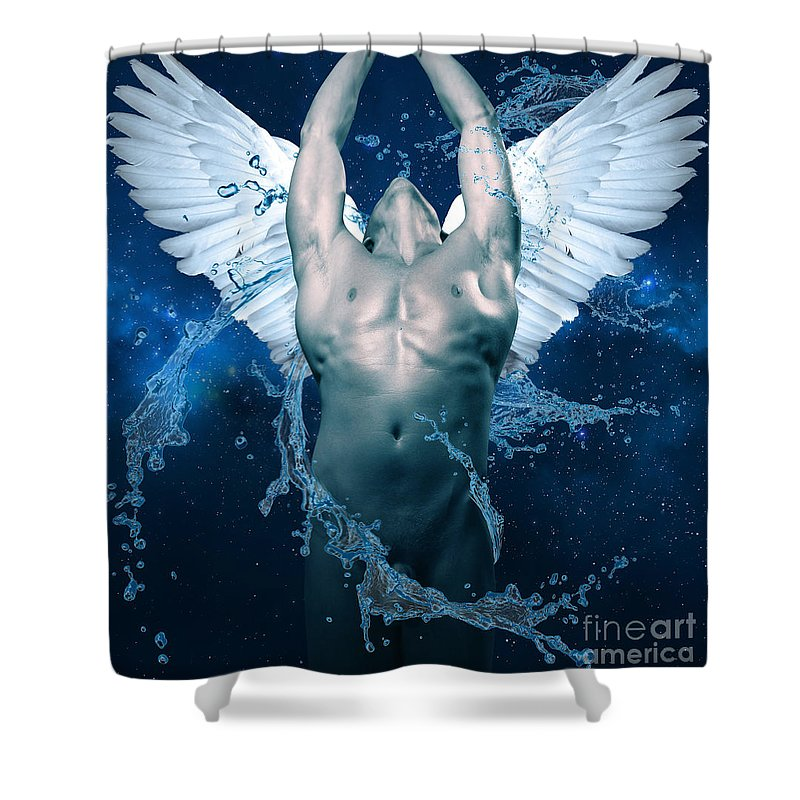 Blue Angel Shower Curtain For Sale By Mark Ashkenazi
