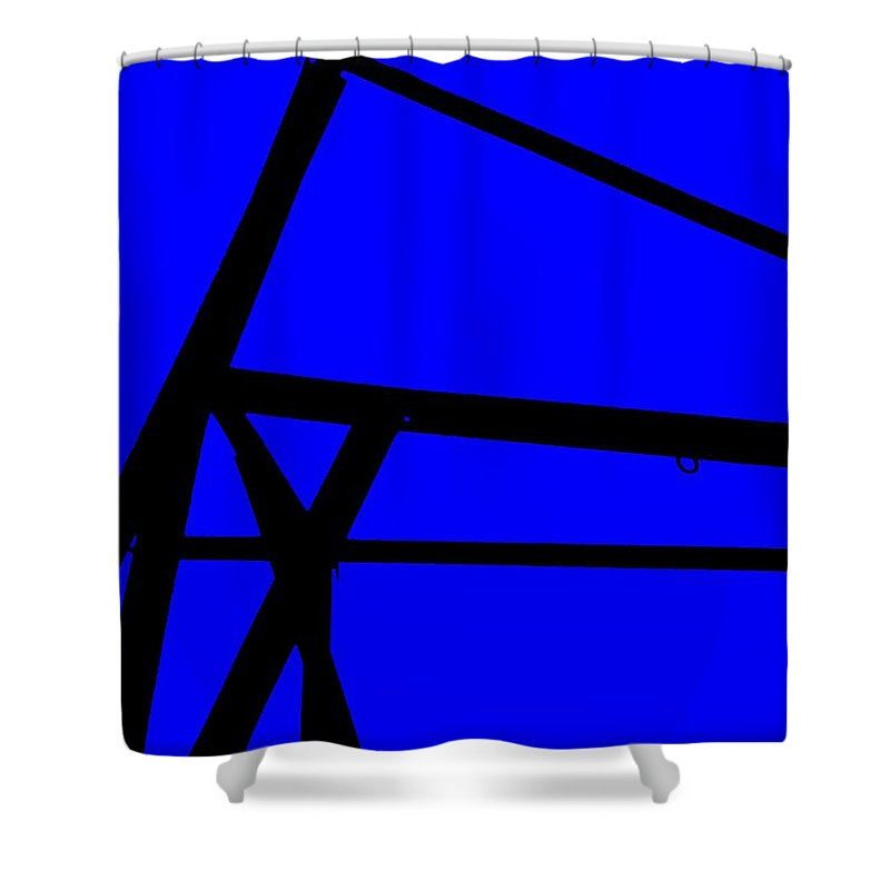 Blue Abstract Shower Curtain featuring the painting Blue Angle Abstract by Eric Schiabor
