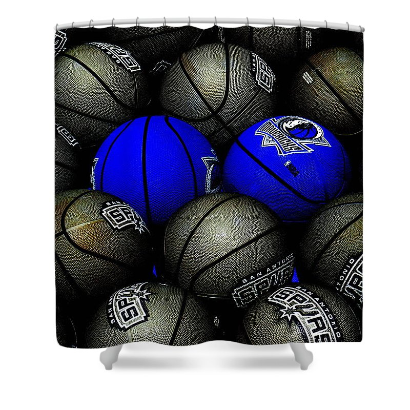 Basketball Shower Curtain featuring the photograph Blue Balls by Ed Smith