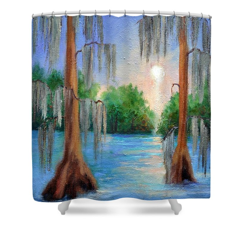 Bayou Landscape Shower Curtain featuring the painting Blue Bayou by Ginger Concepcion