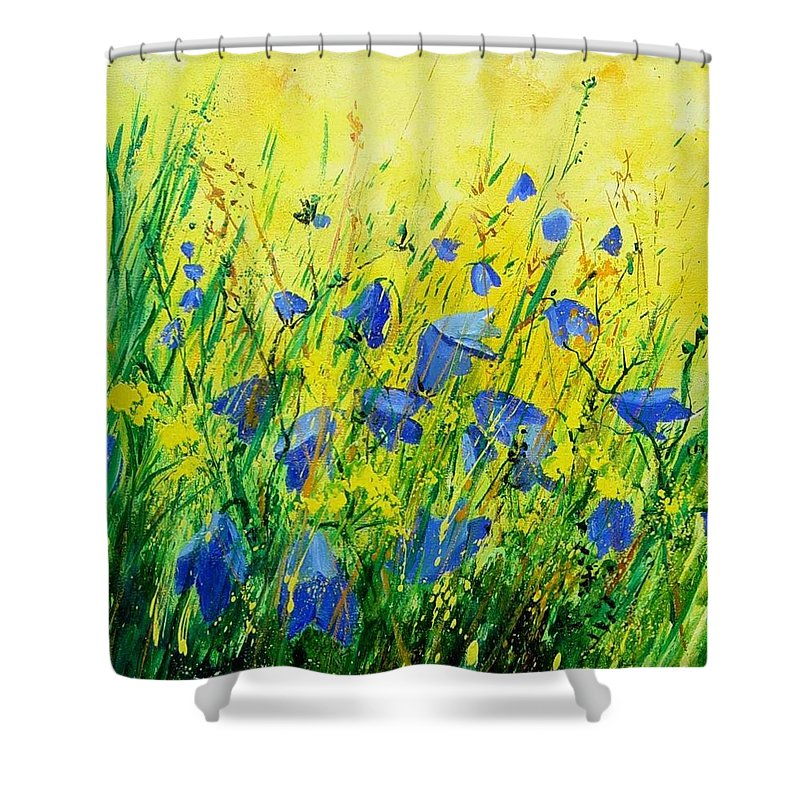 Poppies Shower Curtain featuring the painting Blue Bells by Pol Ledent