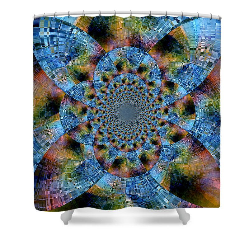 Abstract Shower Curtain featuring the digital art Blue Bling by Ruth Palmer