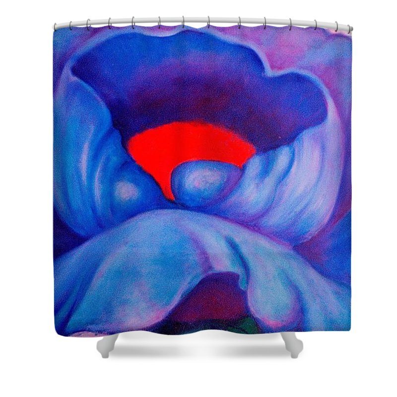 Blue Bloom Shower Curtain featuring the painting Blue Bloom by Jordana Sands
