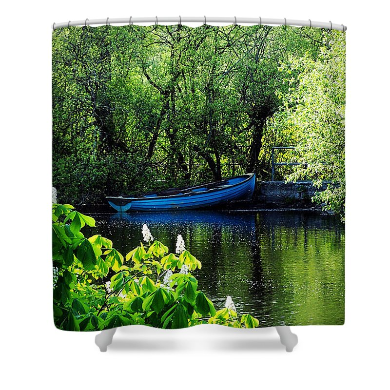 Irish Shower Curtain featuring the photograph Blue Boat Cong Ireland by Teresa Mucha