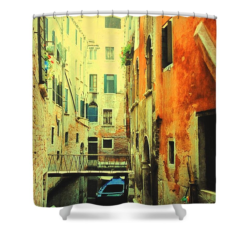 Venice Shower Curtain featuring the photograph Blue Boat In Venice by Ian MacDonald