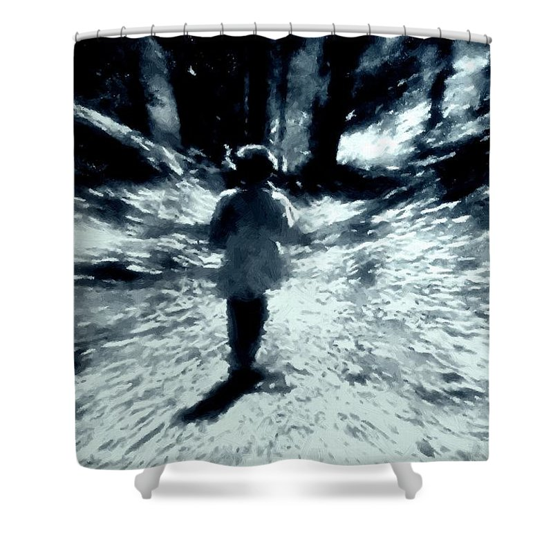 Blue Shower Curtain featuring the painting Blue Boy Walking Into The Future by RC DeWinter