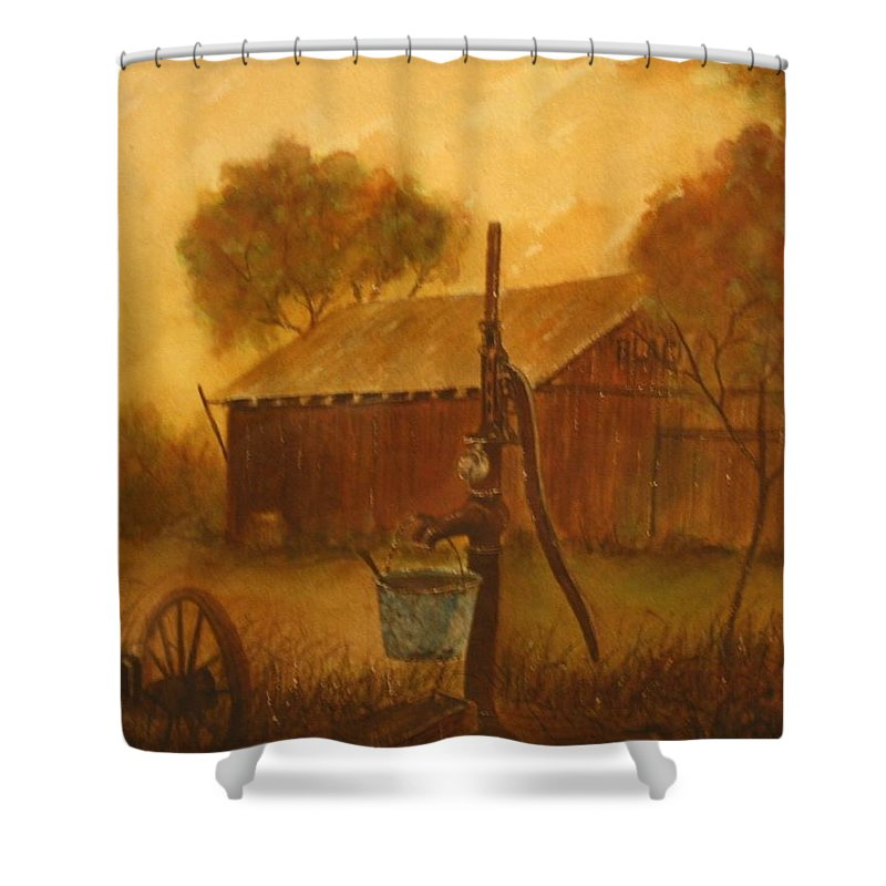 Barn; Bucket; Country Shower Curtain featuring the painting Blue Bucket by Ben Kiger
