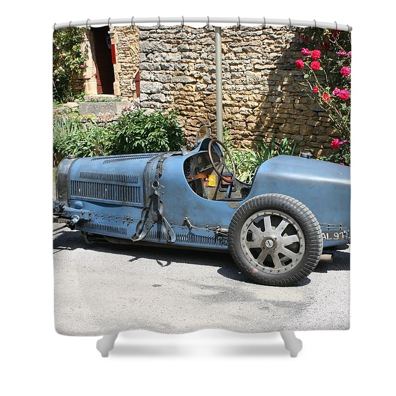 Oldtimer Shower Curtain featuring the photograph Blue Bugatti Oldtimer by Christiane Schulze Art And Photography