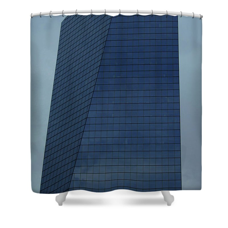 City Shower Curtain featuring the photograph Blue Building by Linda Sannuti