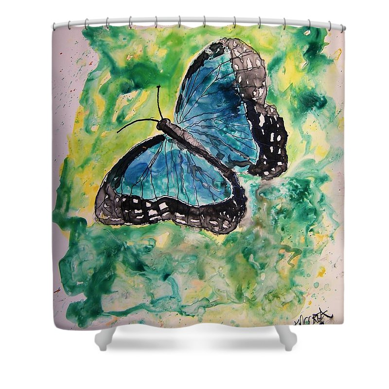 Wildlife Shower Curtain featuring the painting Blue Butterfly by Derek Mccrea