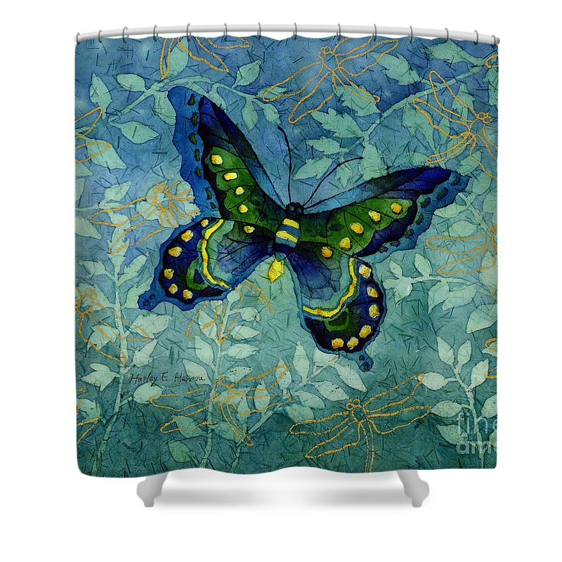 Butterfly Shower Curtain Featuring The Painting Blue By Hailey E Herrera