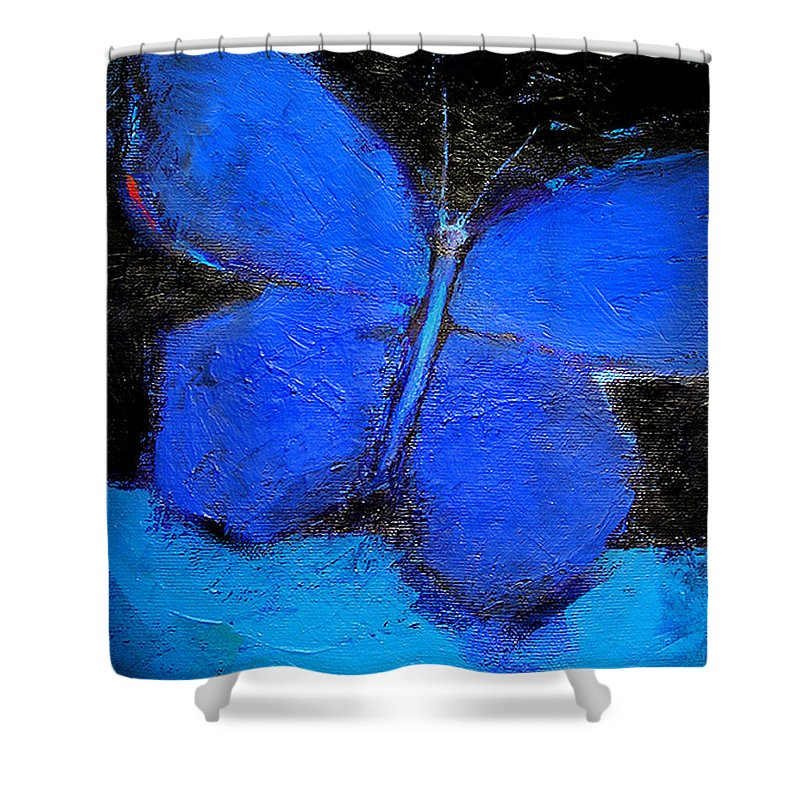 Butterfly Shower Curtain featuring the painting Blue Butterfly by Noga Ami-rav