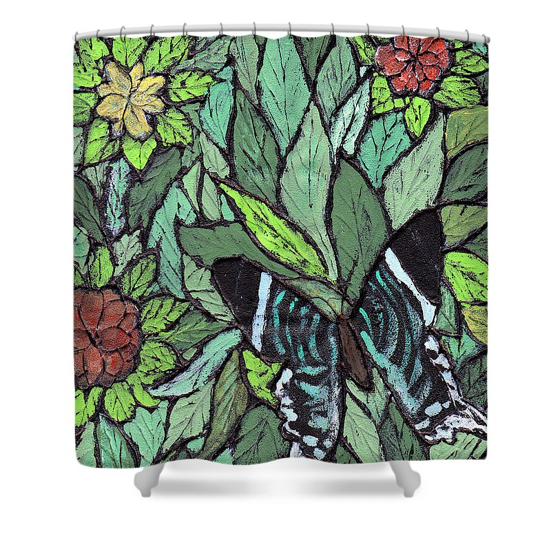 Butterfly Shower Curtain featuring the painting Blue Butterfly by Wayne Potrafka