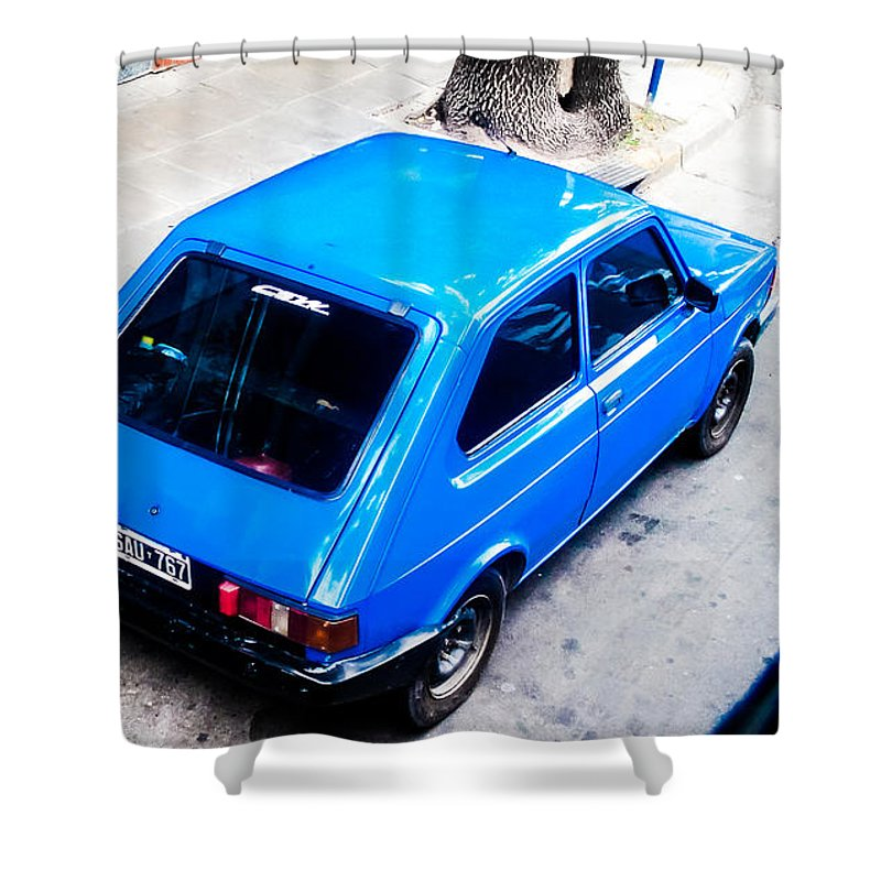 Vintage Shower Curtain featuring the photograph Blue Car by Cesar Vieira